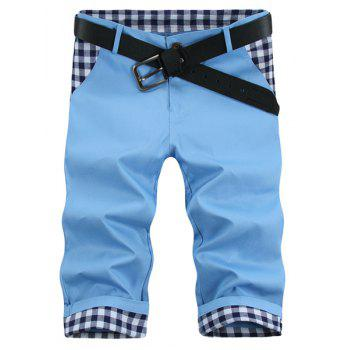 Modish Straight Leg Plaid Print Splicing Zipper Fly Men's Shorts - AZURE 32