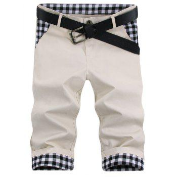 Modish Straight Leg Plaid Print Splicing Zipper Fly Men's Shorts - OFF-WHITE 32