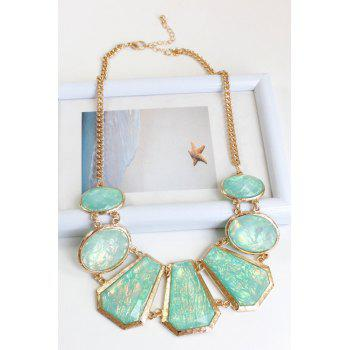 Charming Geometric Faux Gemstone Necklace For Women - GOLDEN
