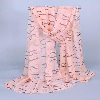 Chic Capital Letters and Buildings Pattern Women's Chiffon Scarf