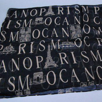 Chic Capital Letters and Buildings Pattern Women's Chiffon Scarf - PINK
