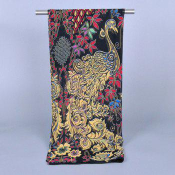 Chic Peacock and Plant Pattern Women's Chiffon Scarf - BLACK