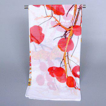 Chic Peach Blossom and Tree Branch Pattern Women's Chiffon Scarf - RED
