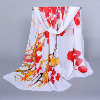 Chic Peach Blossom and Tree Branch Pattern Women's Chiffon Scarf