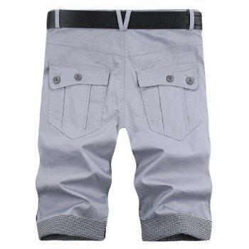 Fashion Pocket Plaid Cuff Zip Fly Shorts For Men - LIGHT GRAY LIGHT GRAY