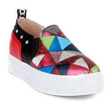 Fashion Color Block and PU Leather Design Platform Shoes For Women - RED RED