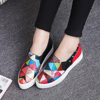 Fashion Color Block and PU Leather Design Platform Shoes For Women - RED 39