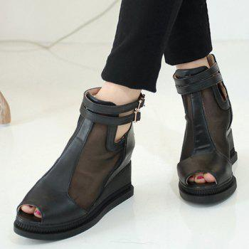Casual Buckle Strap and Wedge Heels Design Peep Toe Shoes For Women - BLACK 36