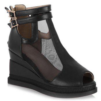 Casual Buckle Strap and Wedge Heels Design Peep Toe Shoes For Women - BLACK BLACK