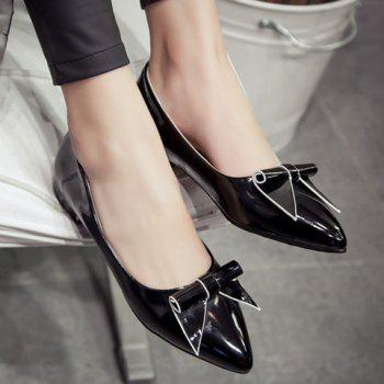 Sweet Patent Leather and Bowknot Design Flat Shoes For Women - BLACK BLACK