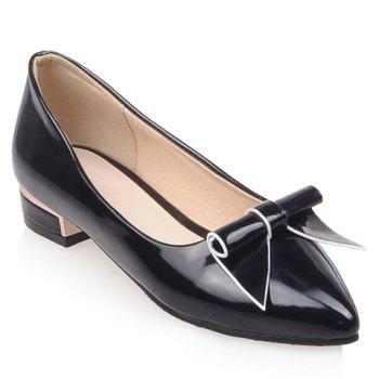 Sweet Patent Leather and Bowknot Design Flat Shoes For Women