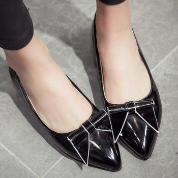 Sweet Patent Leather and Bowknot Design Flat Shoes For Women - 38 38