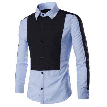 Elegant Turn-Down Collar Hit Color Splicing Long Sleeve Men's Shirt