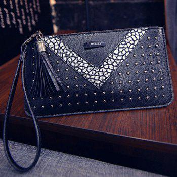Stylish Rivets and Colour Block Design Women's Wallet - SILVER