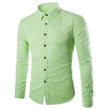 Refreshing Slimming Lapel Long Sleeves Solid Color Shirt For Men