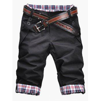 Casual Zip Fly Plaid Cuff Shorts For Men - BLACK BLACK