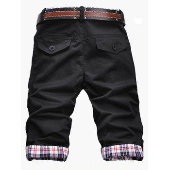 Casual Zip Fly Plaid Cuff Shorts For Men - L L