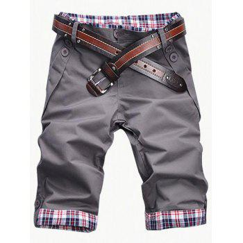 Casual Zip Fly Plaid Cuff Shorts For Men - GRAY GRAY