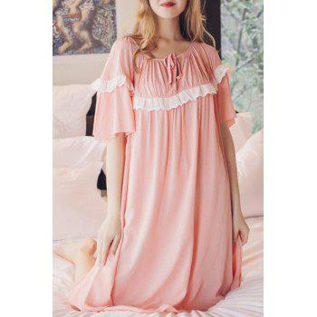 Sweet Ruffles Lace Spliced 1/2 Sleeve Pleated Babydoll For Women