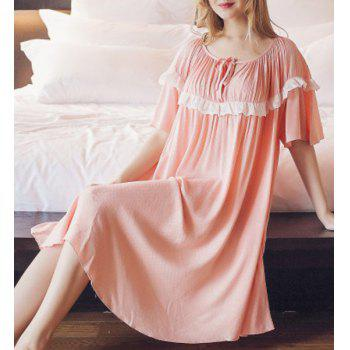 Sweet Ruffles Lace Spliced 1/2 Sleeve Pleated Babydoll For Women - ORANGEPINK ONE SIZE(FIT SIZE XS TO M)