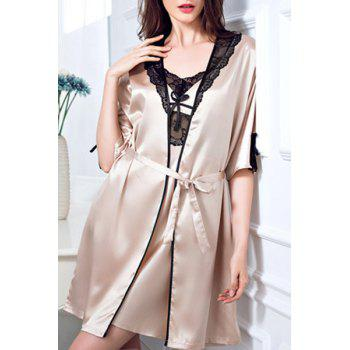 Chic Lace Spliced Spaghetti Strap Silky Babydoll and Kimono Suit For Women
