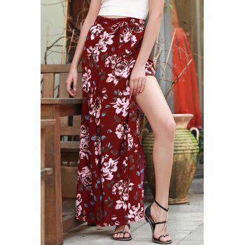 Sexy Floral Print High Slit Long Skirt For Women