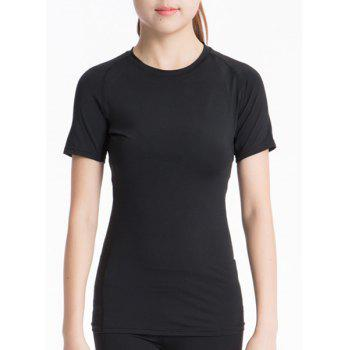 Simple Round Neck Short Sleeves Solid Color Women's T-Shirt - BLACK BLACK