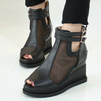 Casual Buckle Strap and Wedge Heels Design Peep Toe Shoes For Women - BLACK 38