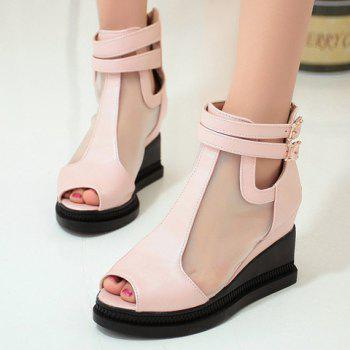 Casual Buckle Strap and Wedge Heels Design Peep Toe Shoes For Women - PINK PINK