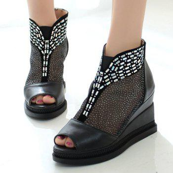 Casual Wedge and PU Leather Design Peep Toe Shoes For Women - BLACK 39