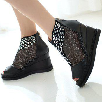 Casual Wedge and PU Leather Design Peep Toe Shoes For Women - BLACK BLACK