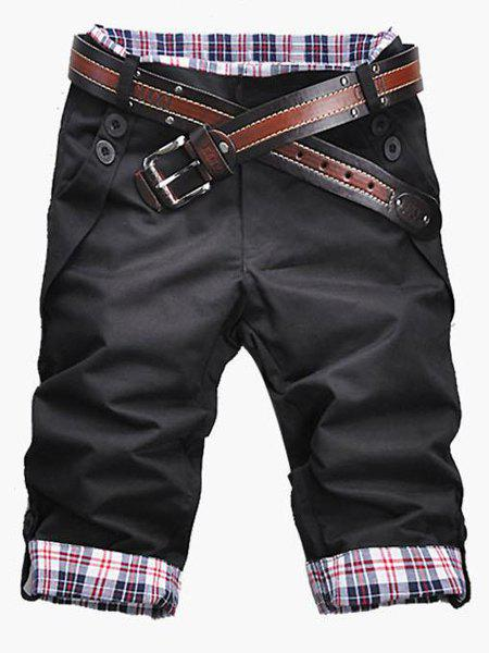 Casual Zip Fly Plaid Cuff Shorts For Men - BLACK 3XL