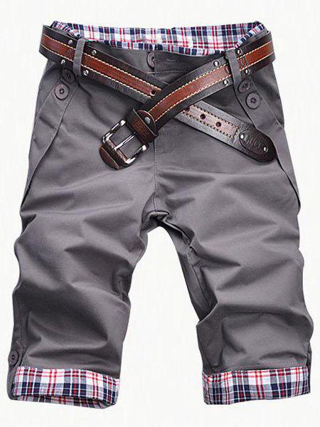 Casual Zip Fly Plaid Cuff Shorts For Men - GRAY 2XL