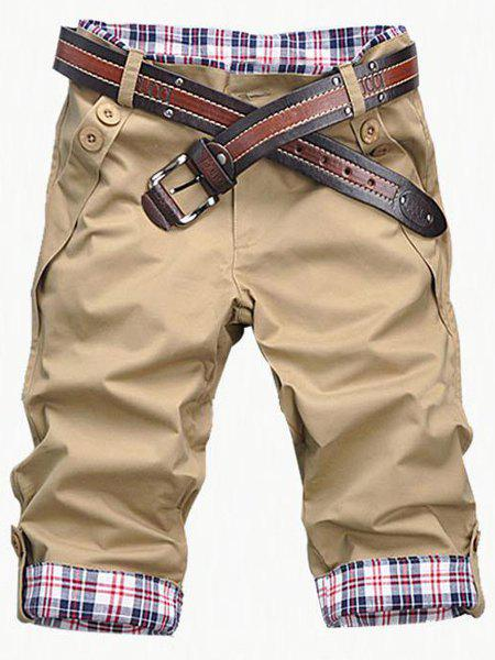 Casual Zip Fly Plaid Cuff Shorts For Men - KHAKI M