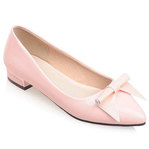 Sweet Patent Leather and Bowknot Design Flat Shoes For Women - PINK 37
