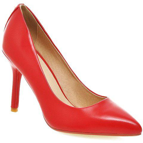 Fashionable Stiletto Heel and Rivets Design Women's Pumps - RED 38