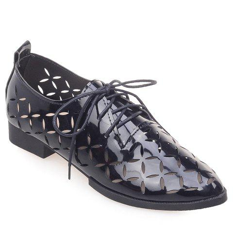 Casual Hollow Out and Lace-Up Design Flat Shoes For Women high quality 4cm platforms full grain genuine leather flat casual shoes women 2016 white hollow out lace up fashion autumn flats