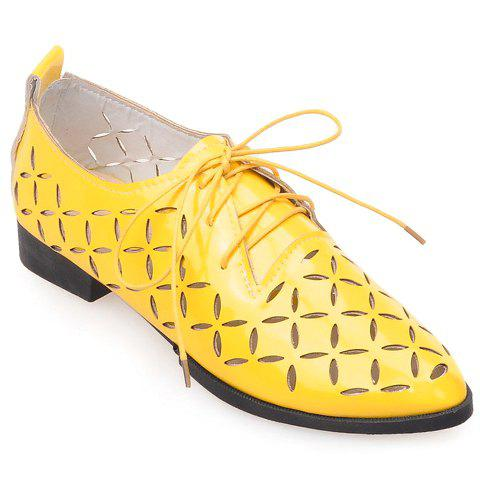 Casual Hollow Out and Lace-Up Design Flat Shoes For Women - YELLOW 38