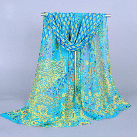 Chic Peacock and Plant Pattern Women's Chiffon Scarf