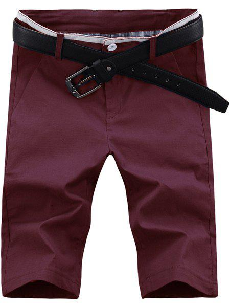 Casual Zip Fly Solid Color Shorts For Men - WINE RED 32