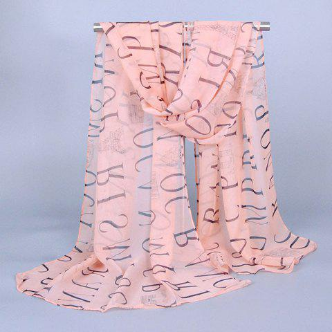 Chic Capital Letters and Buildings Pattern Chiffon Scarf For Women