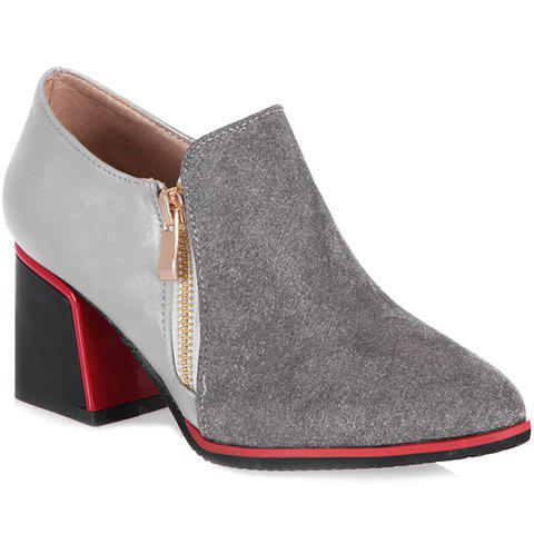 Trendy Zipper and Splicing Design Women's Pumps - GRAY 39