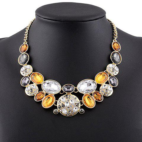 Vintage Rhinestone Faux Crystal Oval Necklace For Women - BROWN