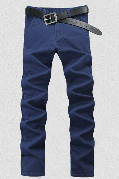 Brief Straight Leg Solid Color Zipper Fly Men's Pants - SAPPHIRE BLUE 34