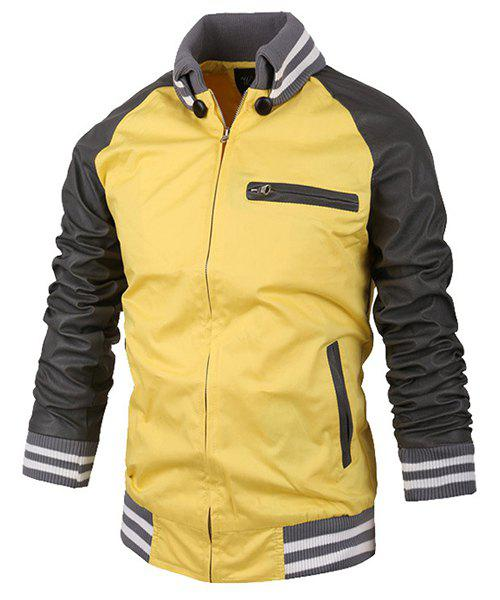 PU Leather Spliced Zipper Pocket Stand Collar Long Sleeves Men's Hit Color Jacket - YELLOW L
