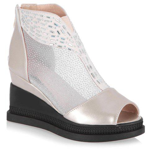 Casual Wedge and PU Leather Design Peep Toe Shoes For Women - APRICOT 39