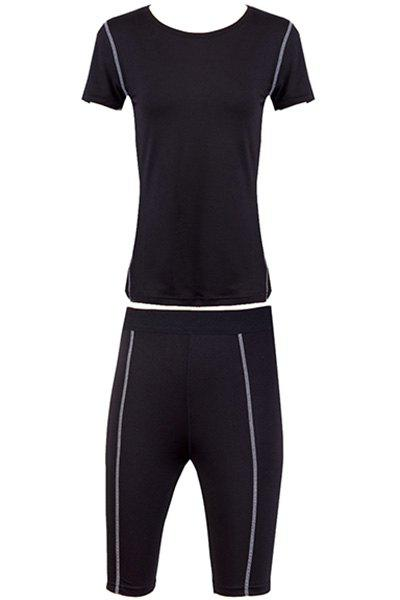Stylish Round Neck Fitted Quick-Dry Women's Activewear Suit - BLACK XL