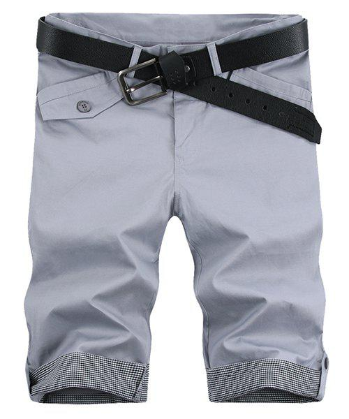 Fashion Pocket Plaid Cuff Zip Fly Shorts For Men - LIGHT GRAY 33