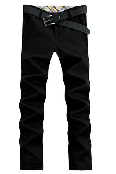 Brief Elegant Straight Leg Solid Color Patch Pocket Zipper Fly Men's Pants - BLACK 32