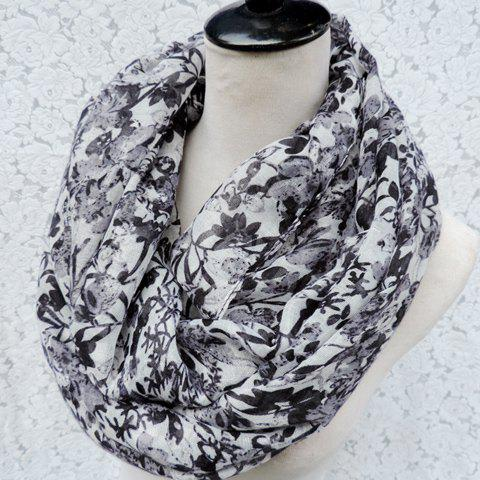 Chic Full Flower and Leaf Pattern Women's Voile Scarf - BLACK